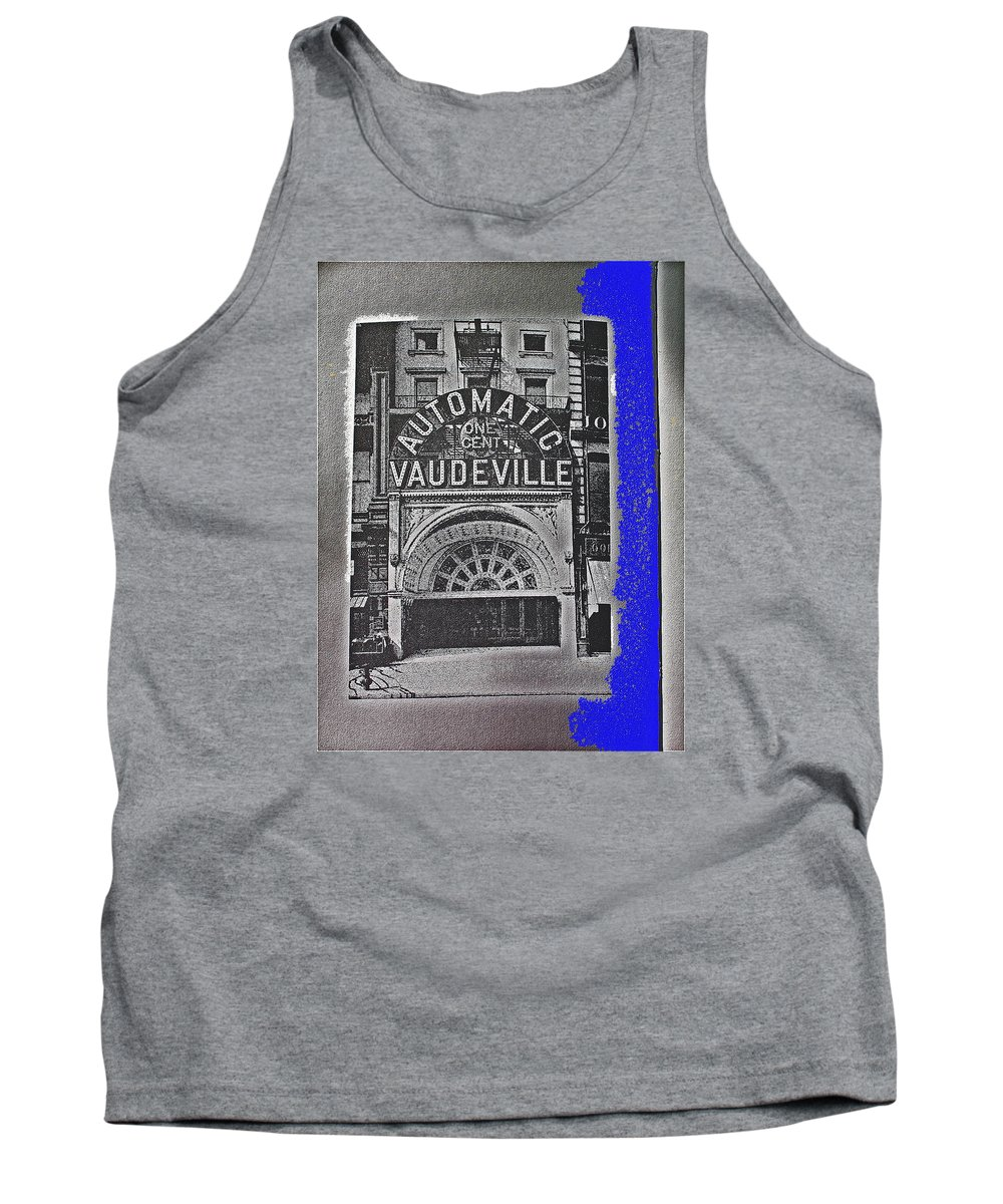 Film Homage Automatic 1 Cent Vaudeville Peep Show Arcade C.1890's New York City Collage 2013 Tank Top featuring the photograph Film Homage Automatic 1 Cent Vaudeville Peep Show Arcade C.1890's New York City Collage 2013 by David Lee Guss