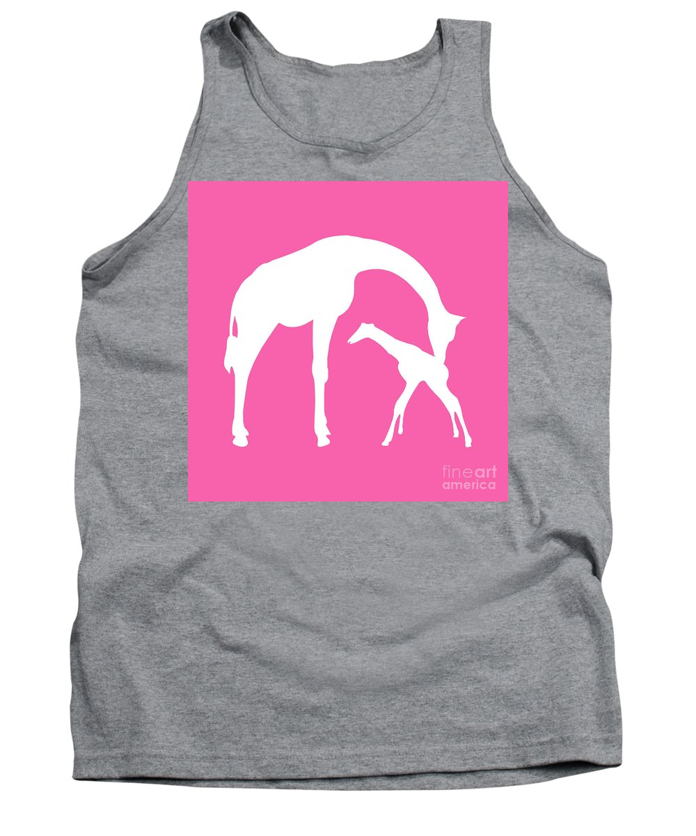 Graphic Art Tank Top featuring the digital art Giraffe In Pink And White by Jackie Farnsworth