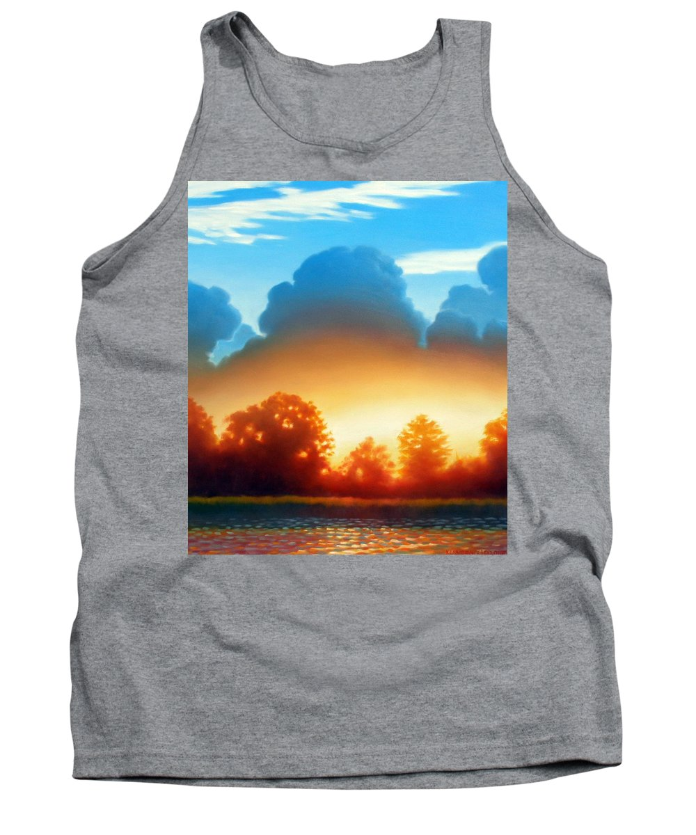 Sunset Tank Top featuring the painting Glowing by Kevin Lawrence Leveque
