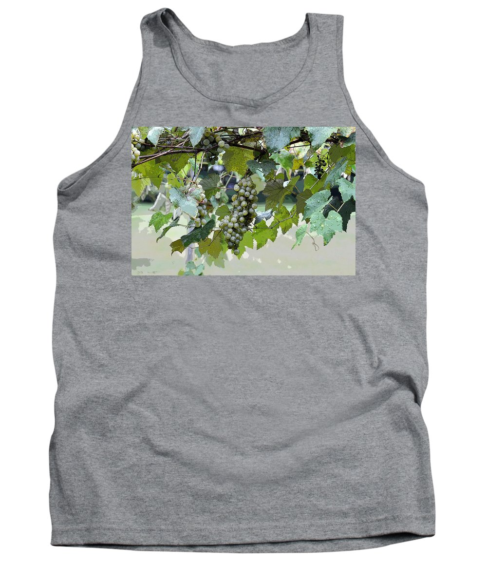 Horizontal Tank Top featuring the photograph Hanging Thompson Grapes Sultana by Sally Rockefeller