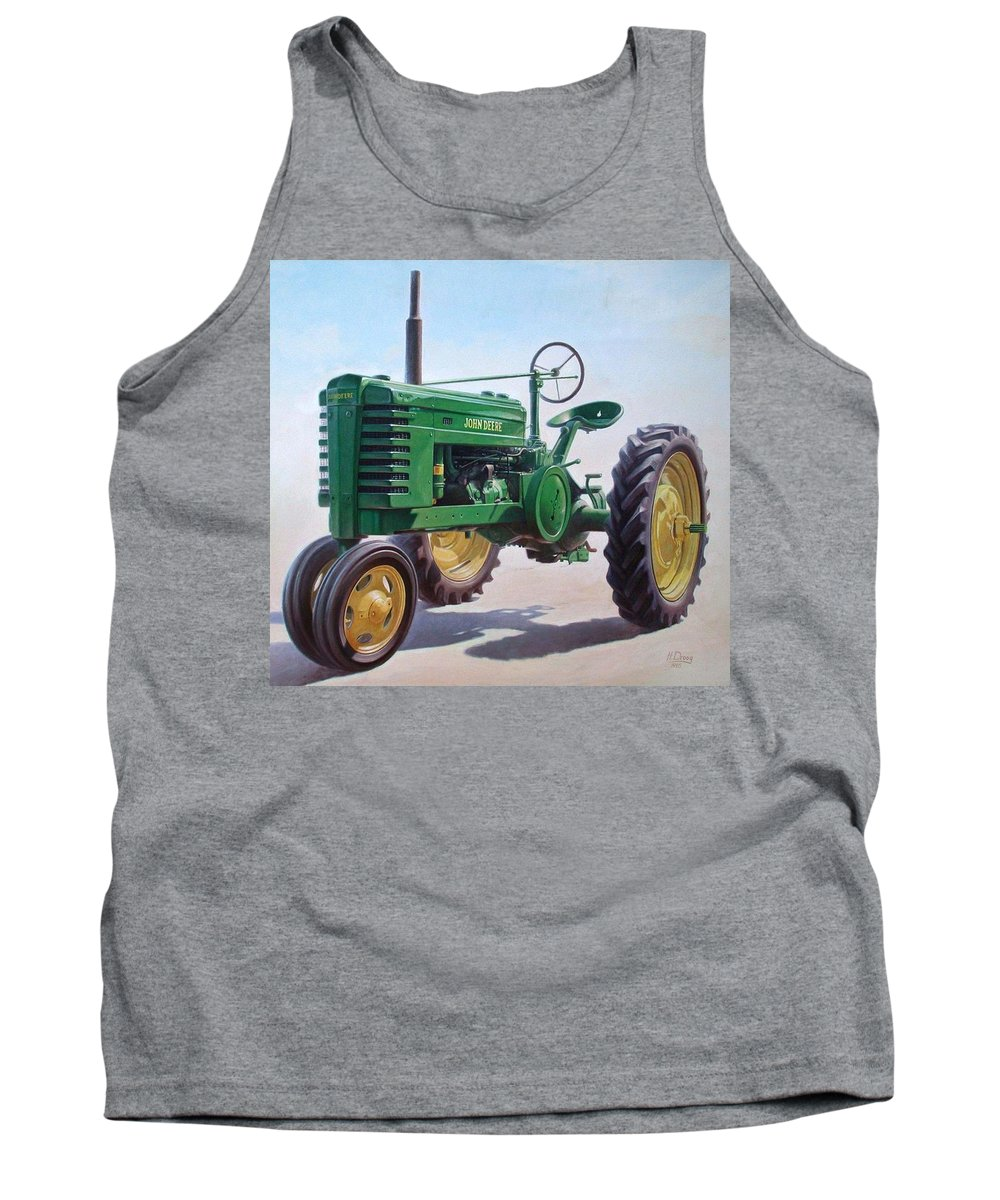 Tractor Tank Top featuring the painting John Deere Tractor by Hans Droog