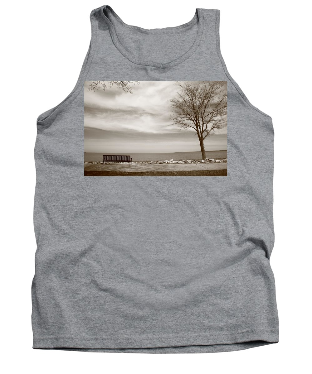 Art Tank Top featuring the photograph Lake And Park Bench by Frank Romeo