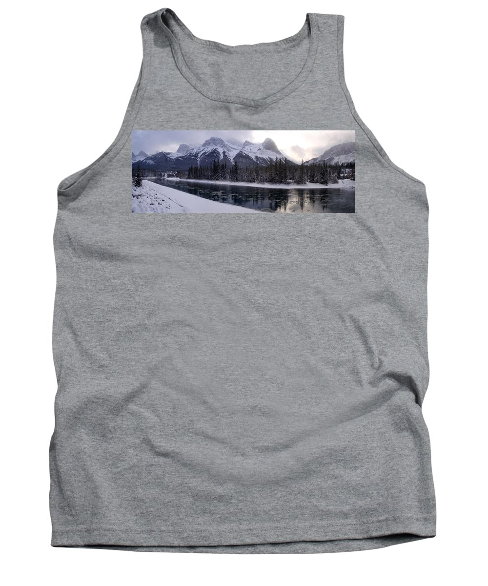 Mountain Tank Top featuring the photograph Mountain Sunset Christmas Canmore, Alberta by Ian Mcadie