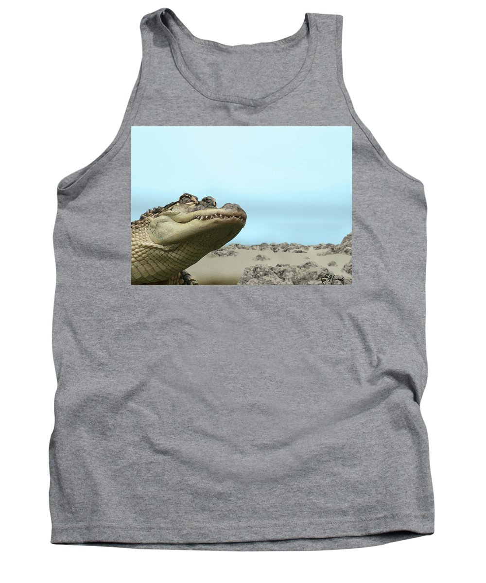 See You Later Tank Top featuring the painting See You Later Alligator by Ellen Henneke
