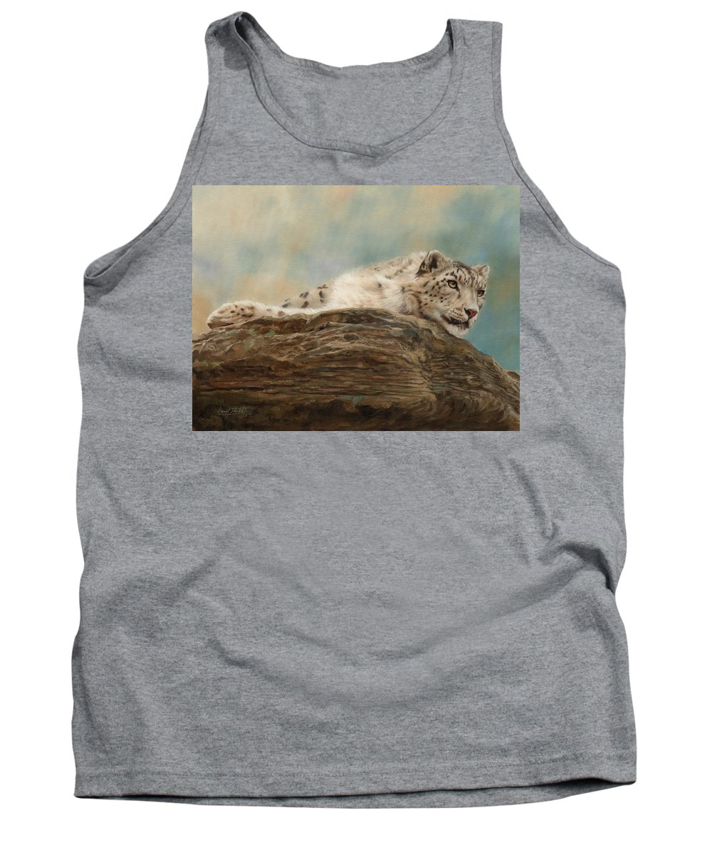 Snow Leopard Tank Top featuring the painting Snow Leopard by David Stribbling