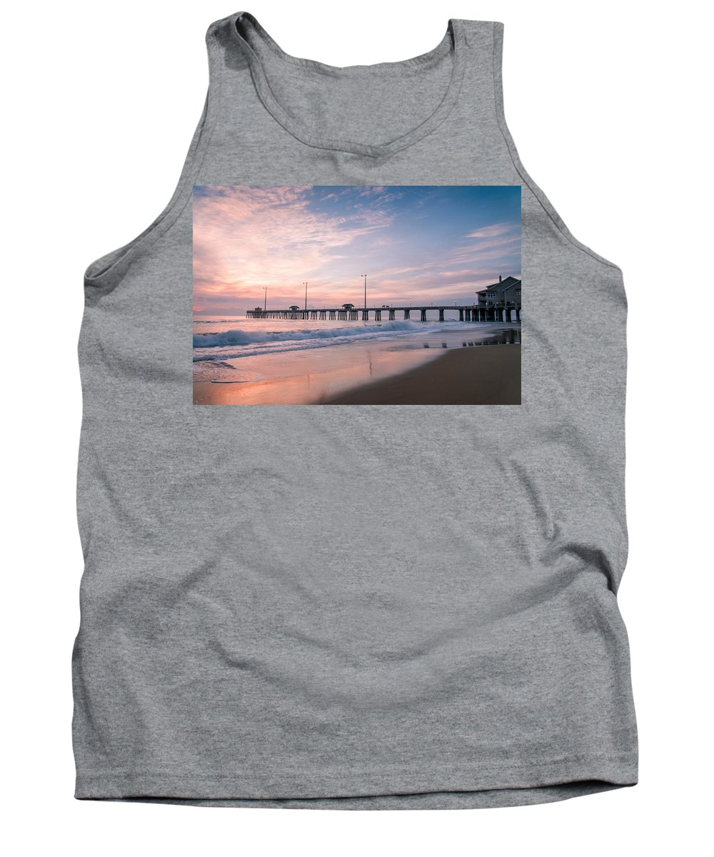 Sky Tank Top featuring the photograph Sunrise At The Pier by Stacy Abbott