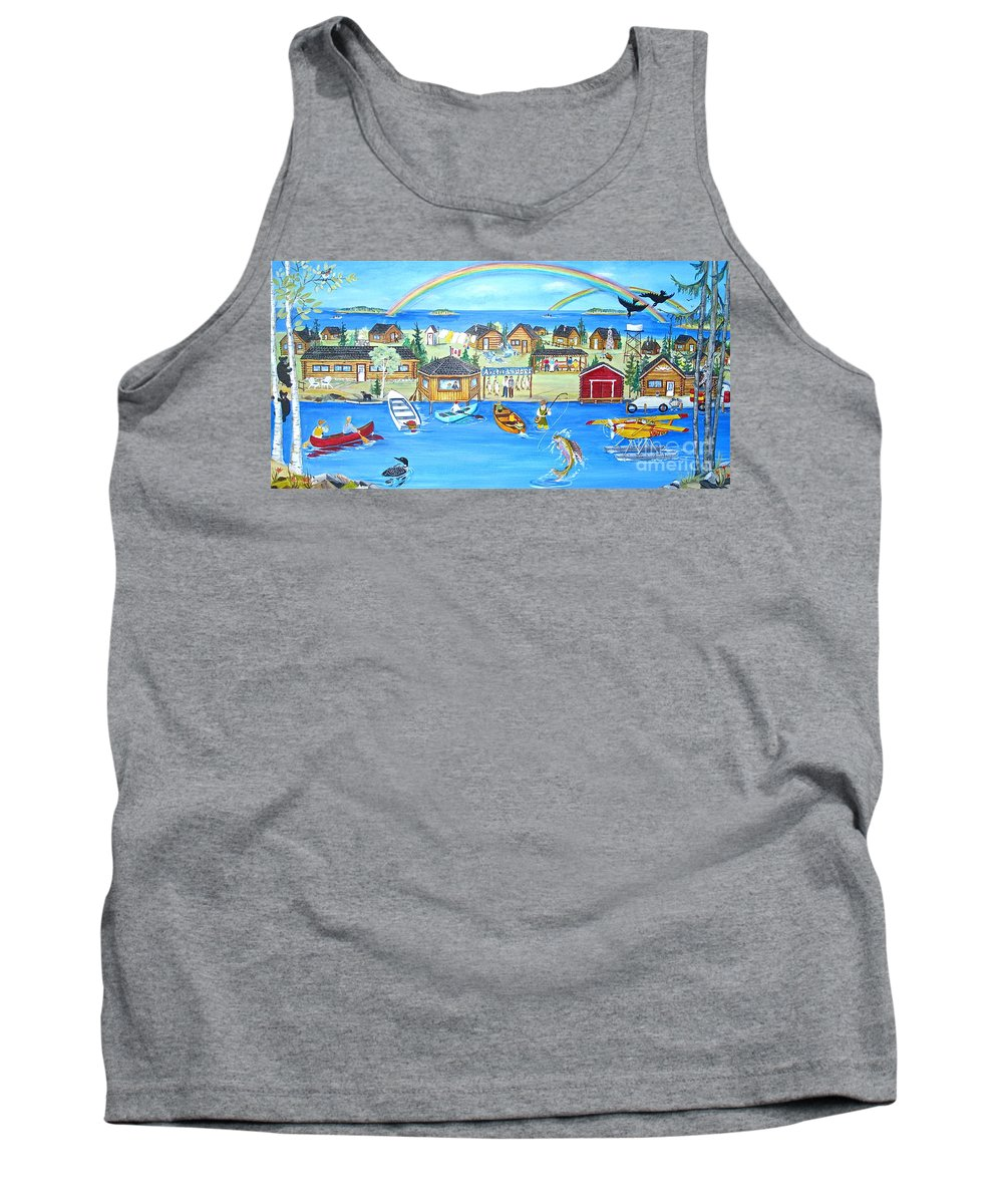 Arctic Lodges Tank Top featuring the painting Arctic Lodges by Virginia Ann Hemingson