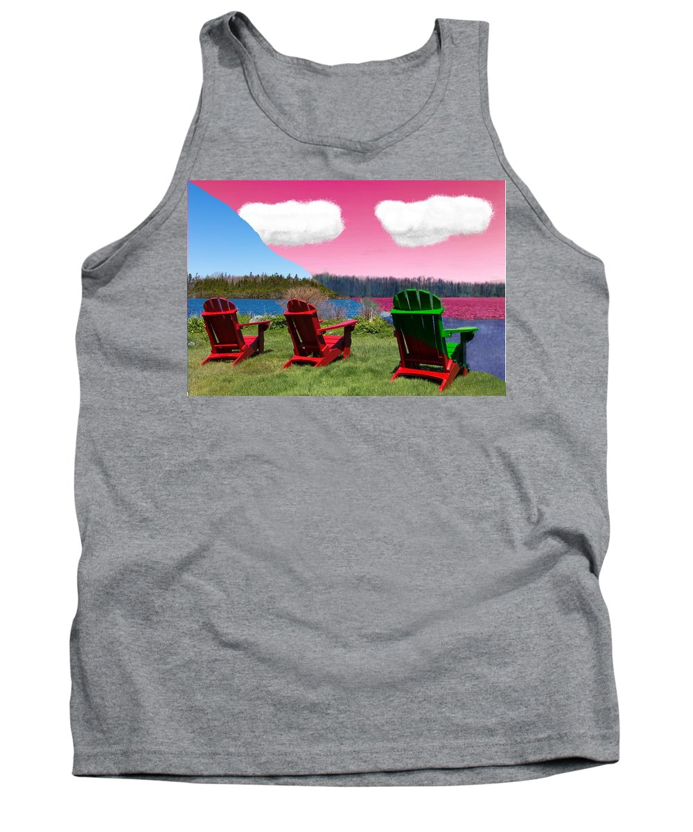 Red Tank Top featuring the painting 3 Chair by Bruce Nutting