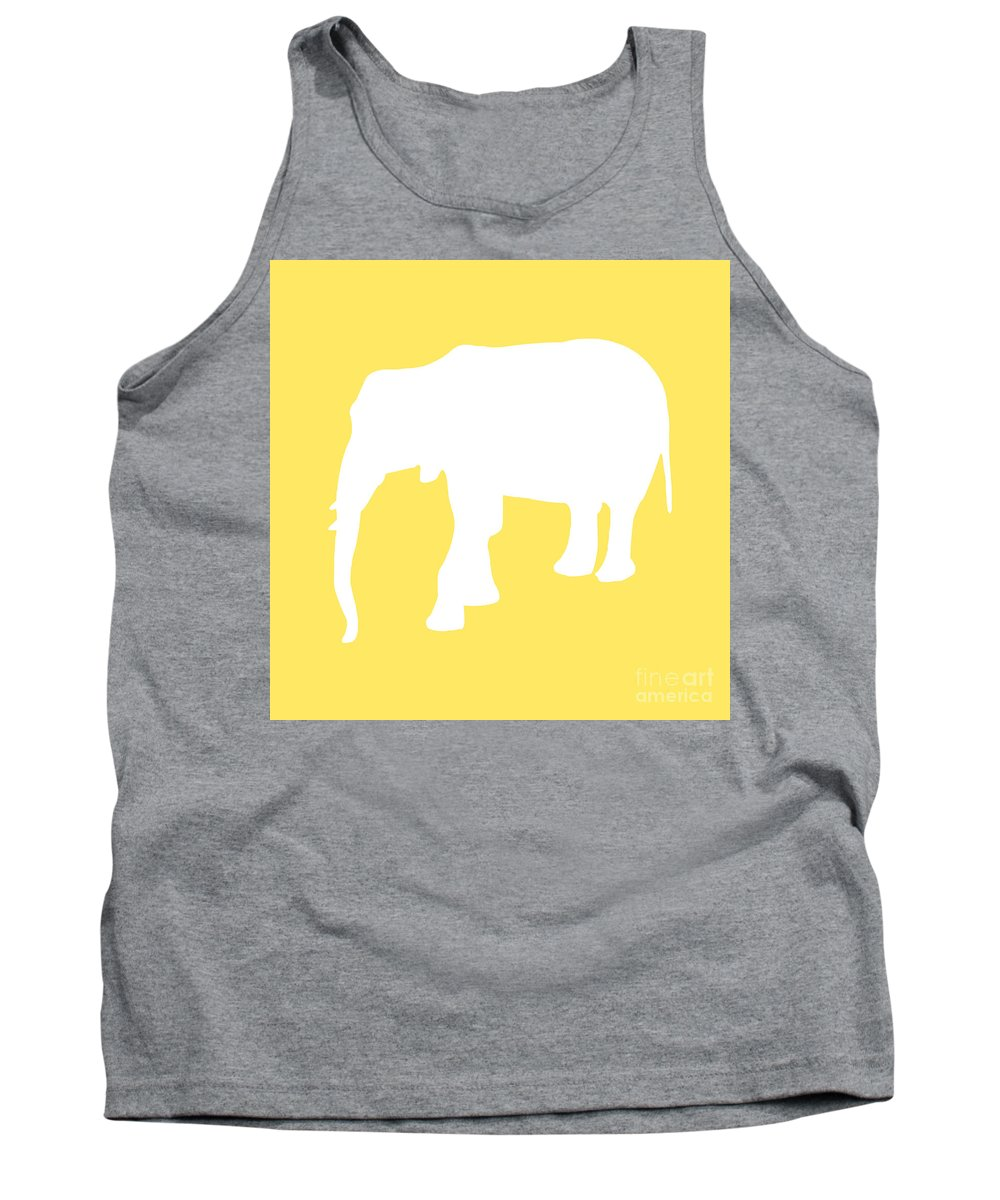 Graphic Art Tank Top featuring the digital art Elephant In Yellow And White by Jackie Farnsworth