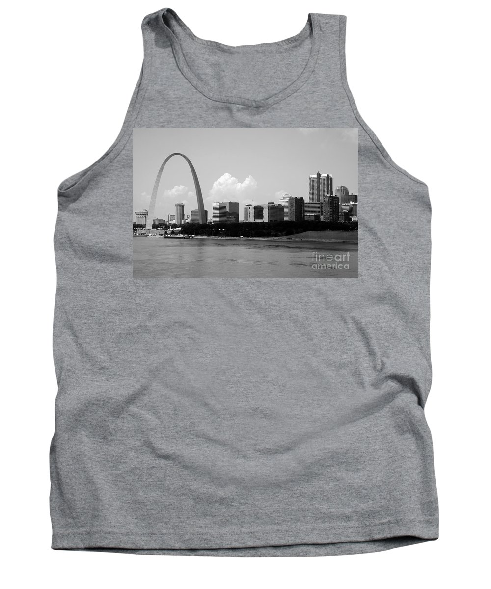 Black And White Tank Top featuring the photograph Saint Louis Skyline by Bill Cobb