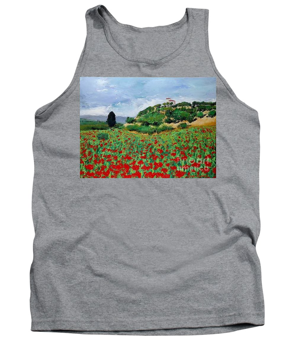 Landscape Tank Top featuring the painting Tuscan Poppies by Allan P Friedlander