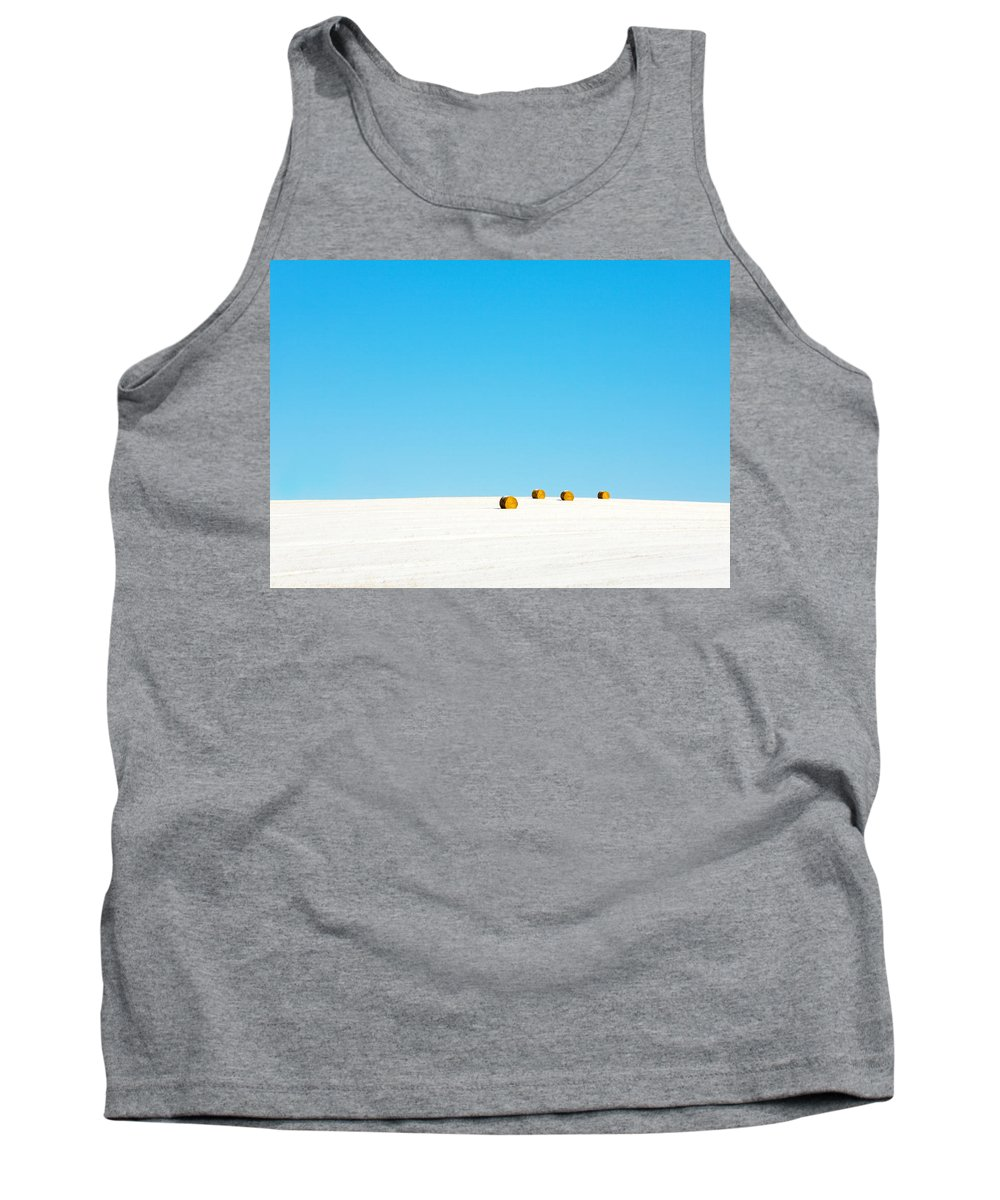 Snow Tank Top featuring the photograph 4 Round Bales by Todd Klassy