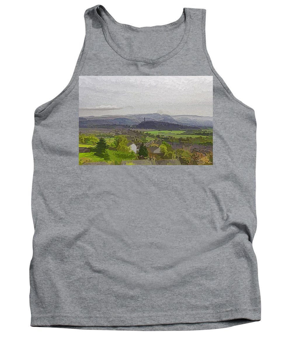 Action Tank Top featuring the photograph View Of Wallace Monument And Surrounding Areas by Ashish Agarwal