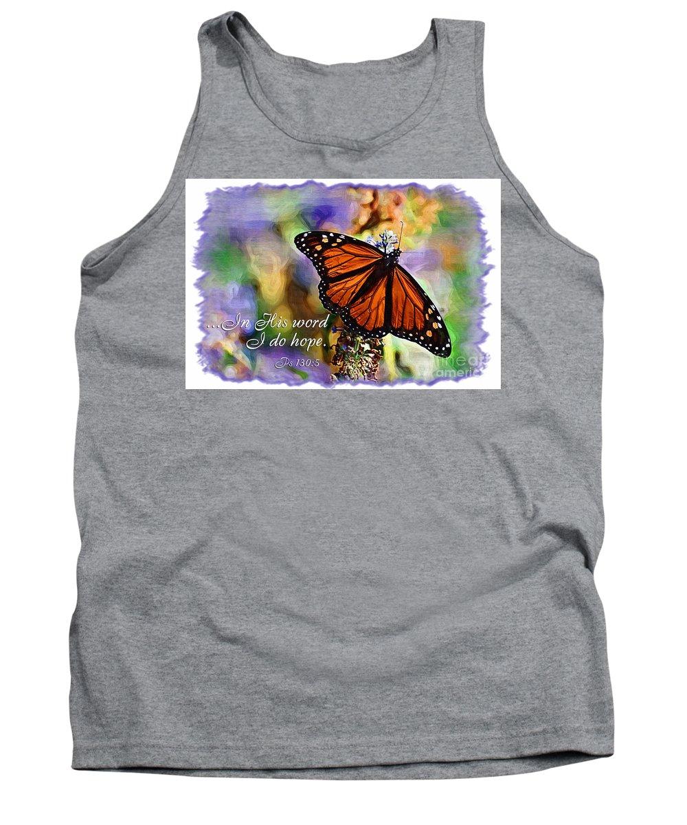 Scripture Tank Top featuring the digital art Butterfly Scripture by Jill Lang
