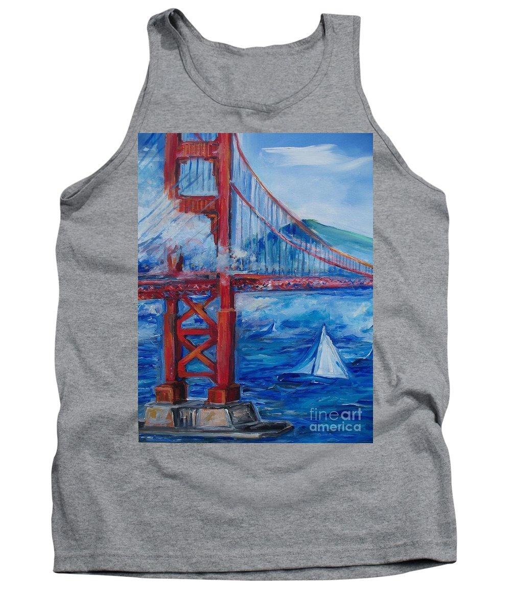 San Francisco Tank Top featuring the painting San Francisco Golden Gate Bridge by Eric Schiabor