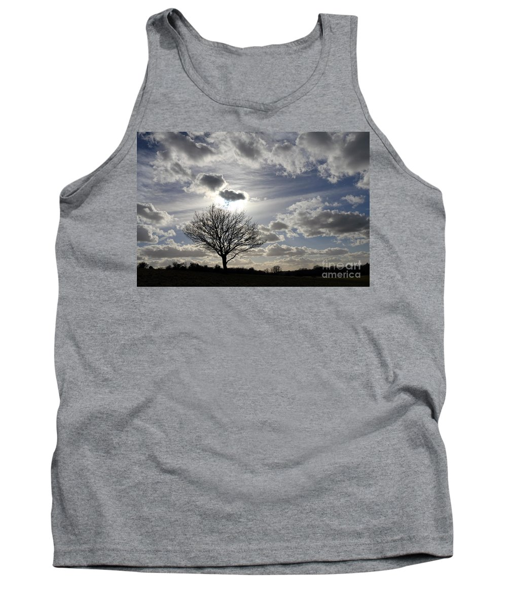 Spring Sunshine On Epsom Downs Surrey Moody Sky Scary Dramatic Sky Tree Silhouette Tank Top featuring the photograph Dramatic Sky by Julia Gavin
