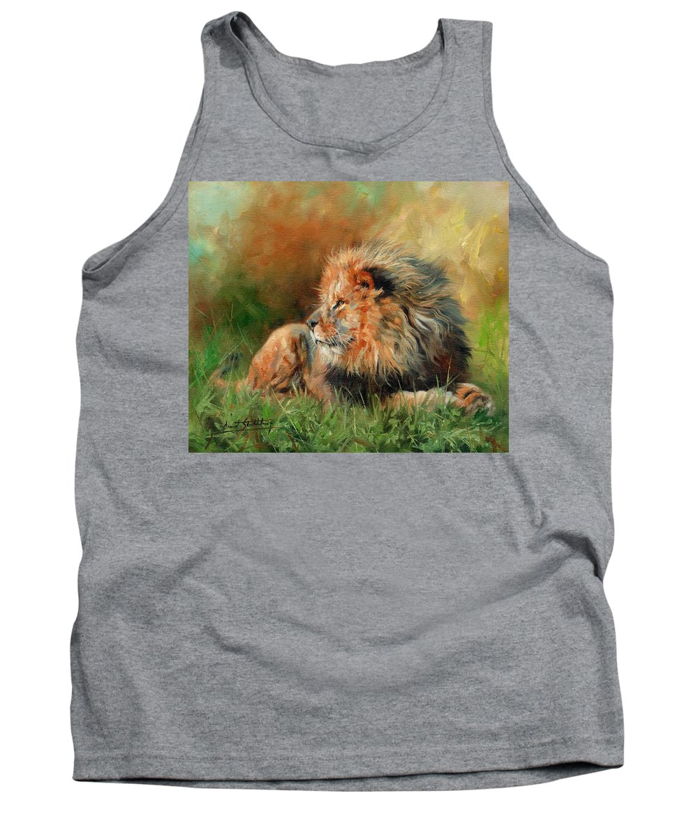 Lion Tank Top featuring the painting Lion by David Stribbling