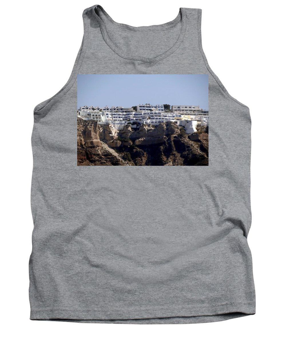 Santorini Tank Top featuring the photograph Views From Santorini Greece by Richard Rosenshein