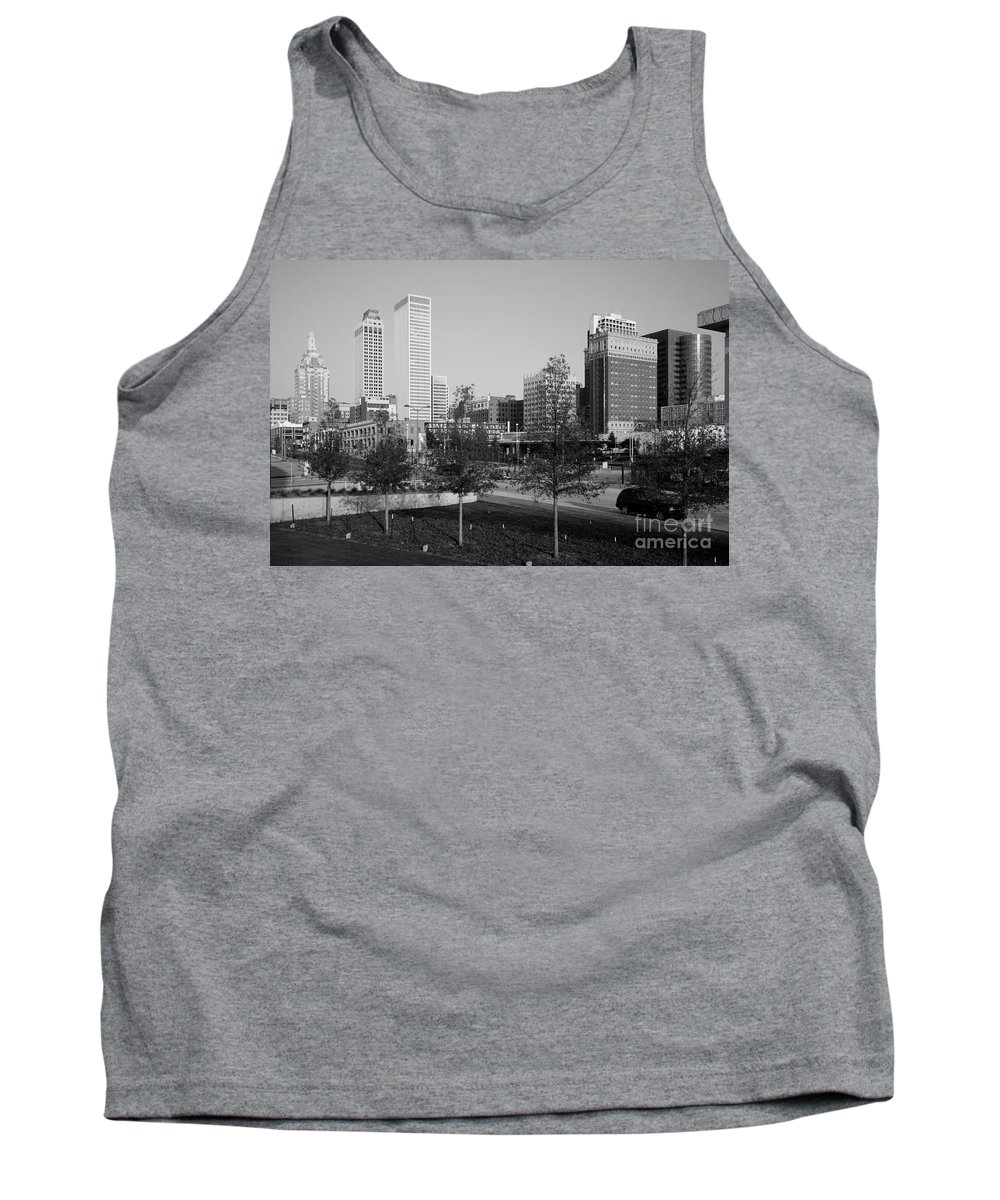 Black And White Tank Top featuring the photograph Tulsa Oklahoma Skyline by Bill Cobb