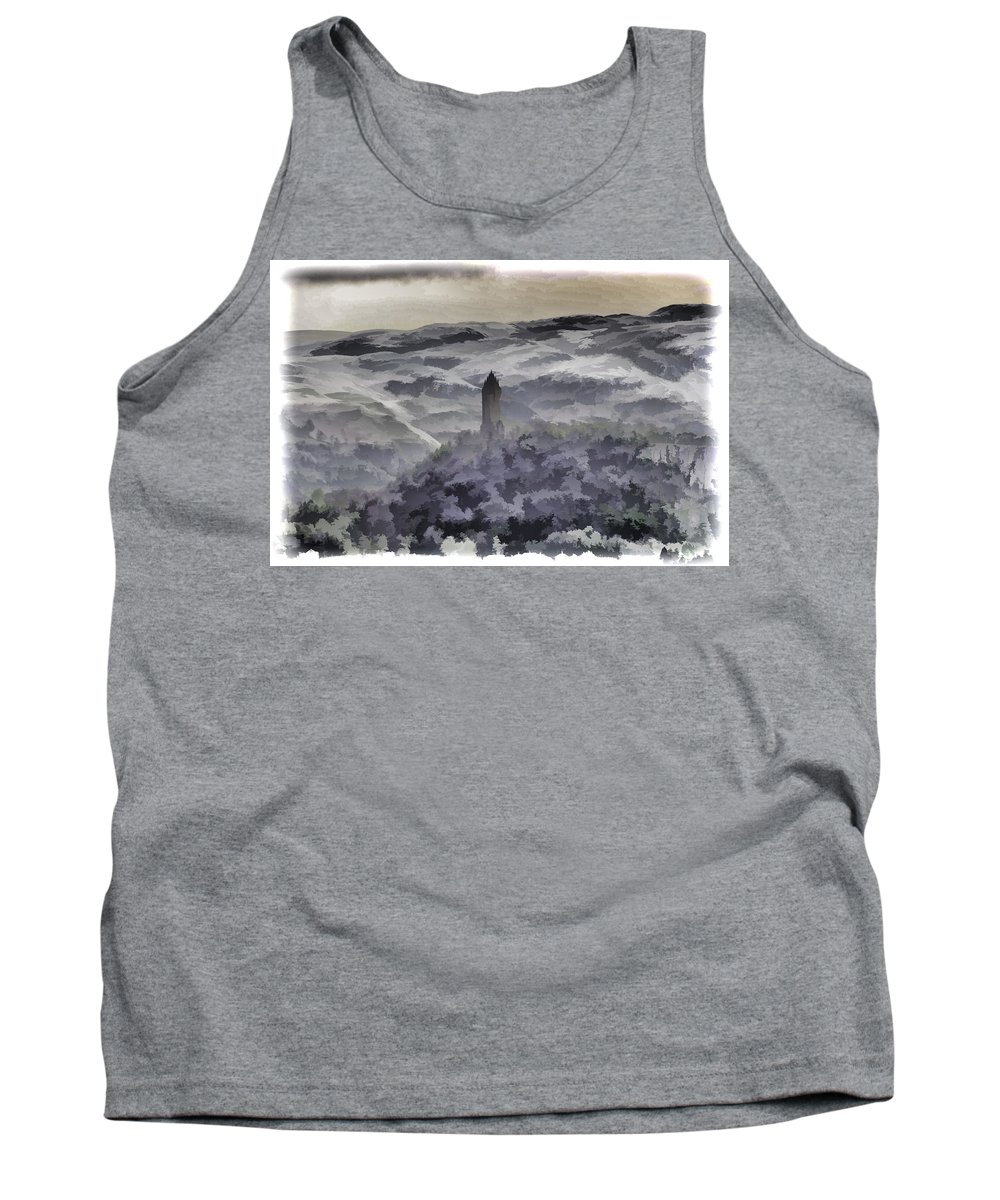 Building Tank Top featuring the photograph View Of Wallace Monument From The Heights Of The Stirling Castle by Ashish Agarwal
