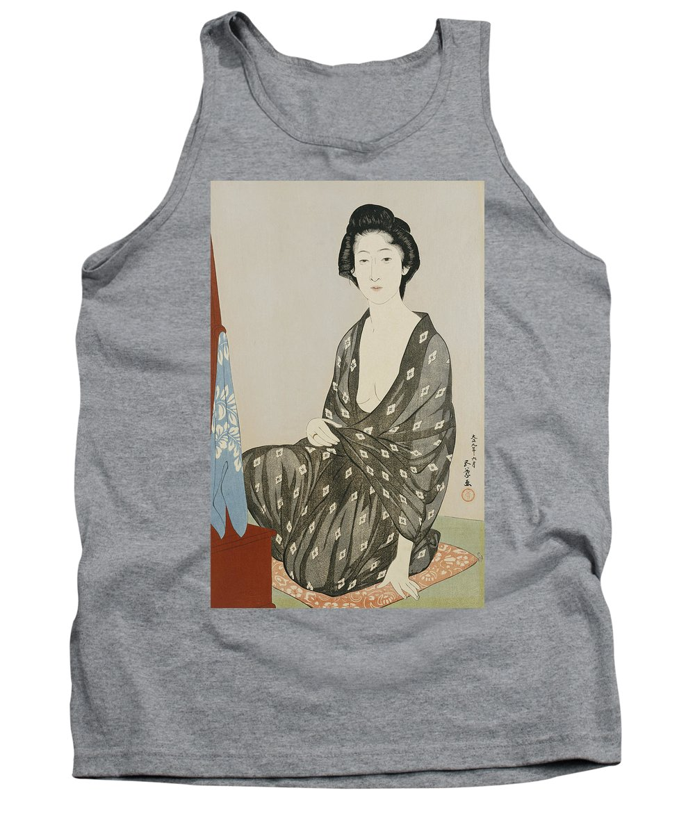 Hashiguchi Tank Top featuring the painting A Beauty In A Black Kimono by Hashiguchi