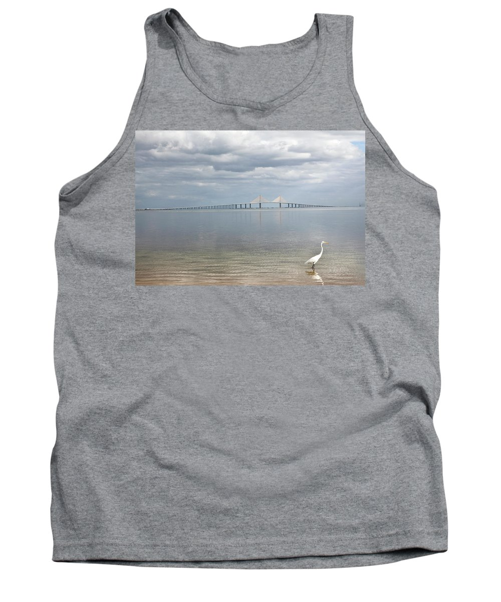 Bird Tank Top featuring the photograph A Bird Stands Reflected In The Waters by Chris Bennett