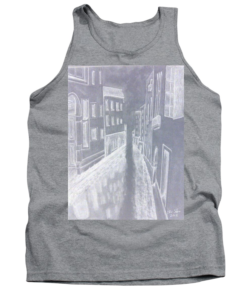 Venice Canal Europe Inverted A Different Look Tank Top featuring the drawing A Canal In Venice by Irving Starr