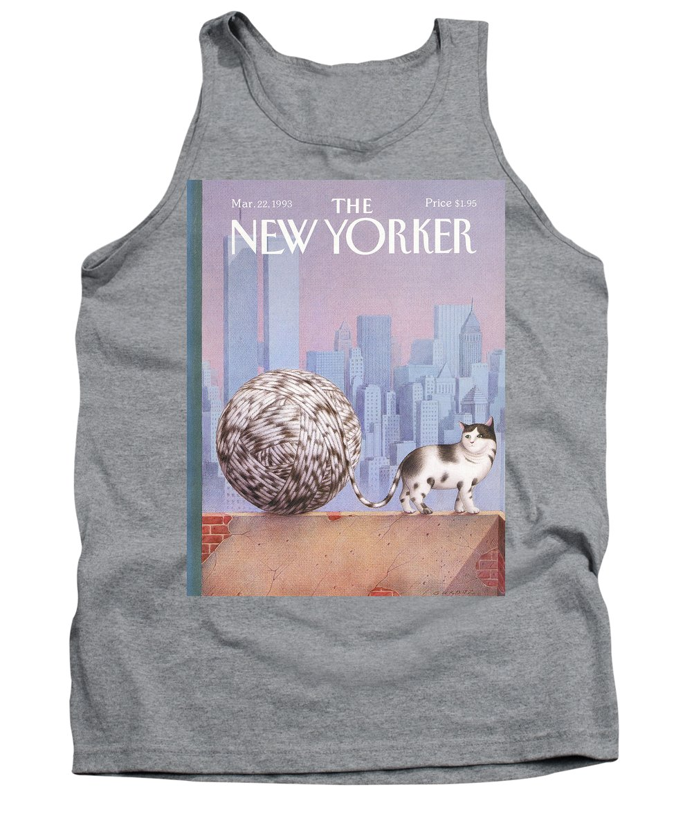 Cat Tank Top featuring the painting A Cat With A Ball Of String For A Tail by Gurbuz Dogan Eksioglu