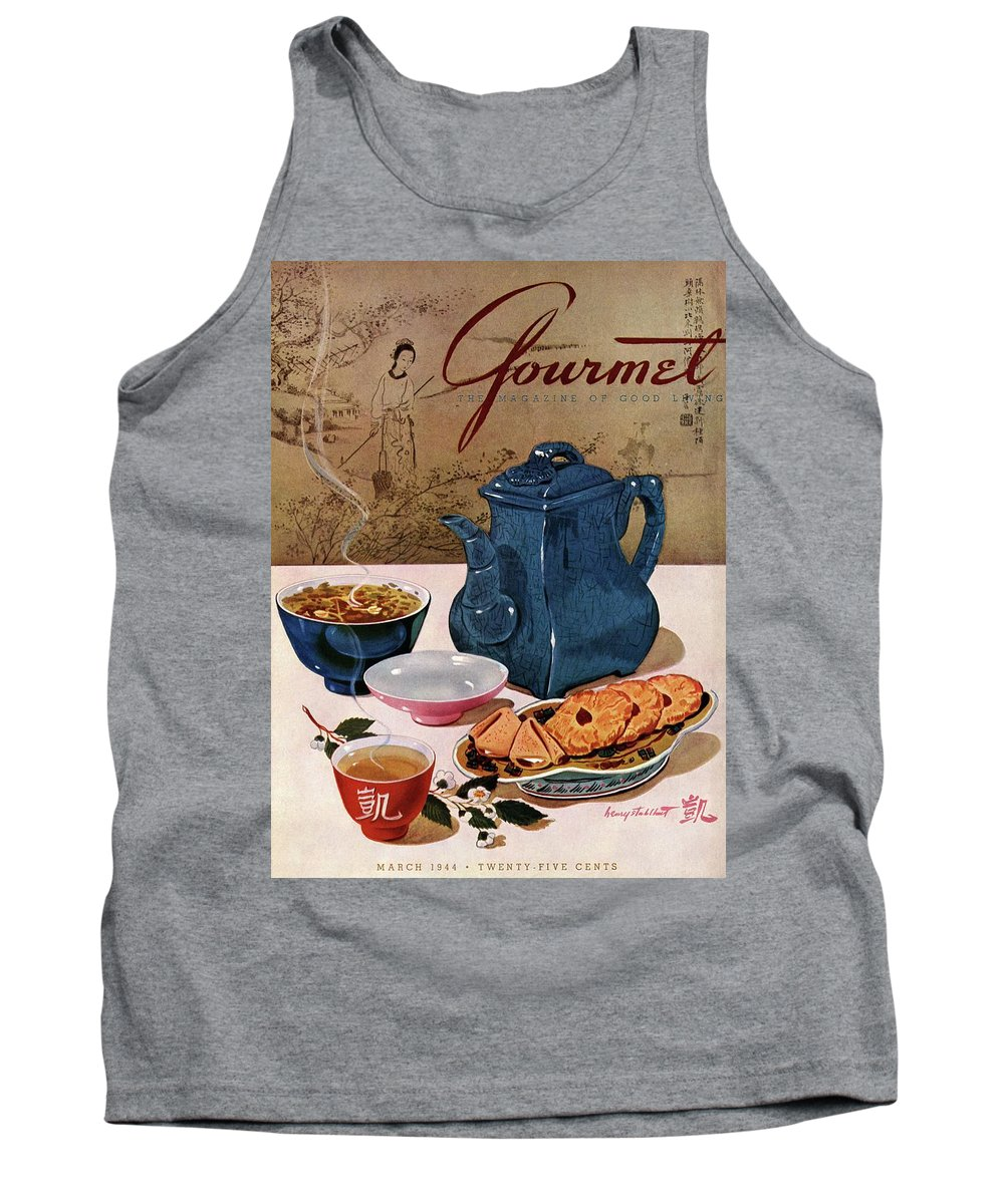 Food Tank Top featuring the photograph A Chinese Tea Pot With Tea And Cookies by Henry Stahlhut