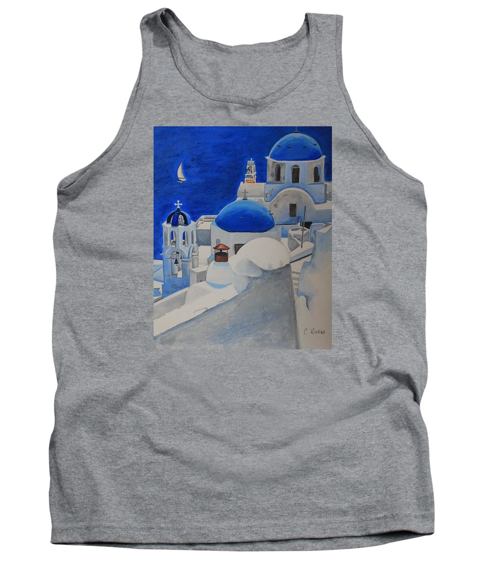 Blue Tank Top featuring the painting A Day In Santorini by Christine Rivers