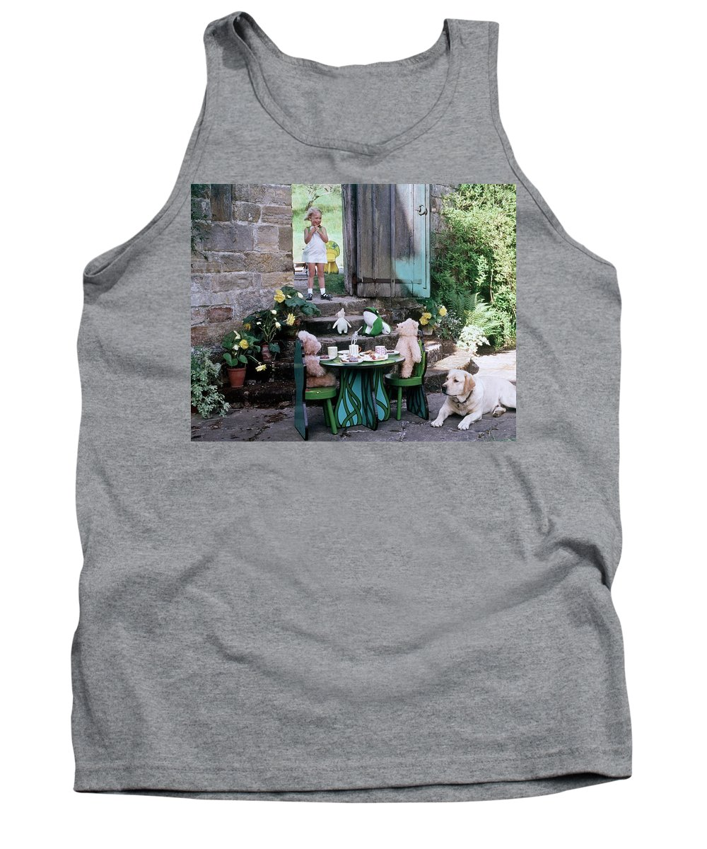Children Tank Top featuring the photograph A Dog Sitting Next To Two Teddy Bears Having by Ernst Beadle