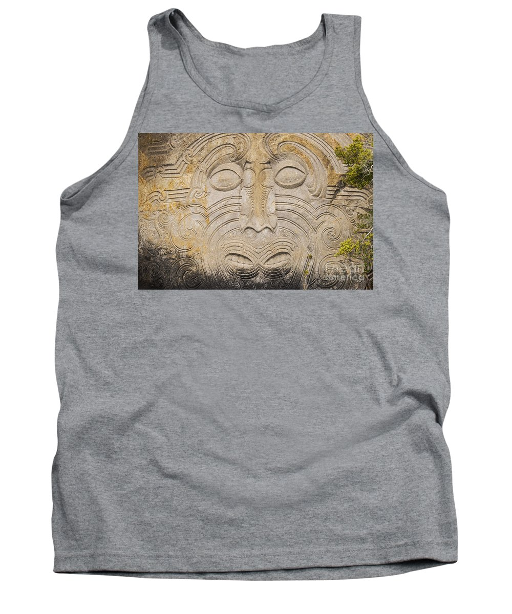 Lake Taupo New Zealand Maori Rock Carving Rocks Lakes Carvings Art Artwork Matahi Whakataka-brightwell Landmark Landmarks Tank Top featuring the photograph A Face In The Rock by Bob Phillips