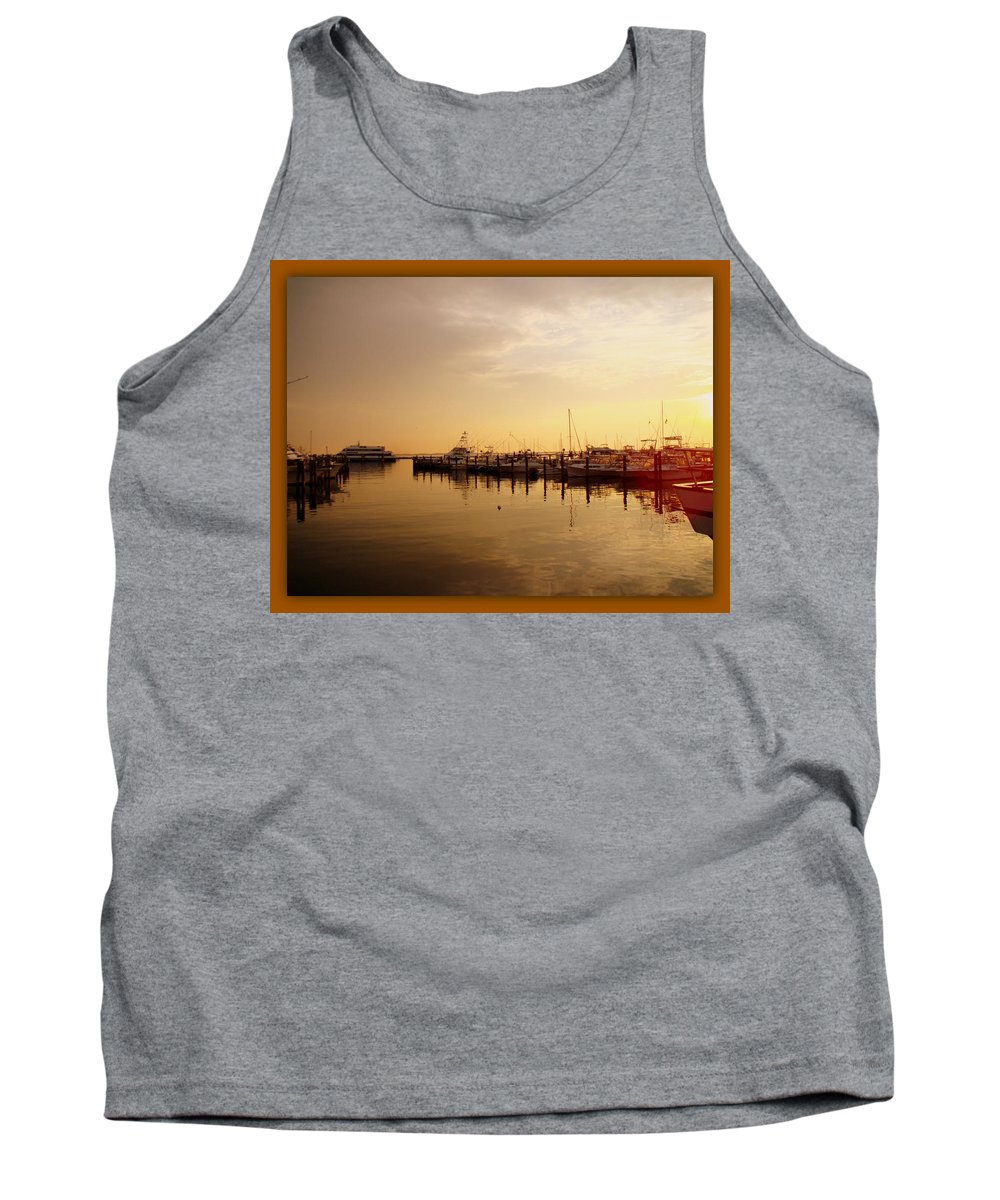 Harbor Tank Top featuring the photograph A New Day Beings On The Water - Atlantic Highlands - Nj by Mother Nature