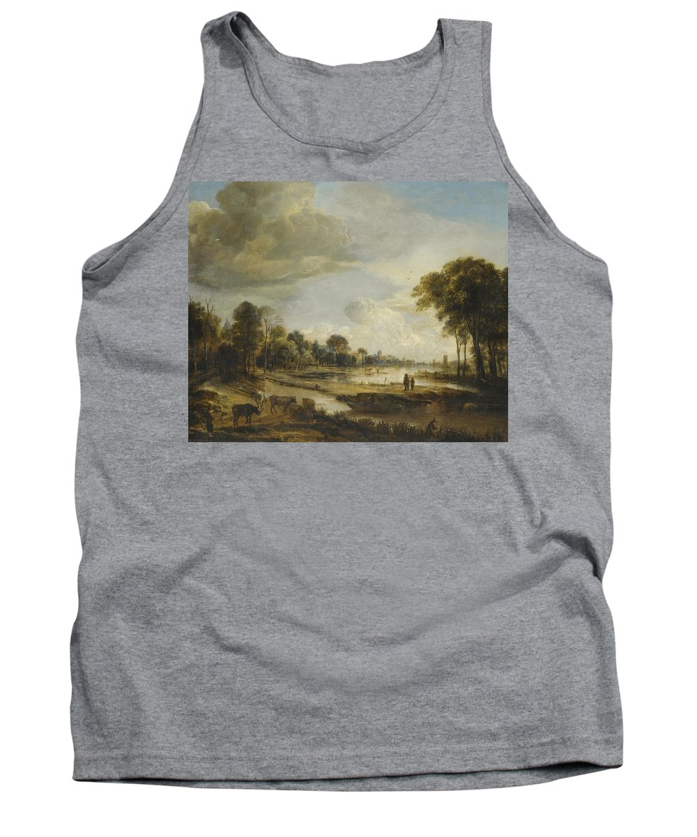 Landscape Tank Top featuring the painting A River Landscape With Figures And Cattle by Gianfranco Weiss