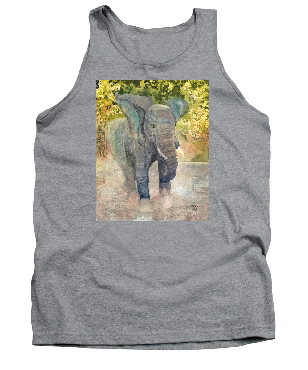 Elephant Tank Top featuring the painting A Running Stop by Tammy Crawford