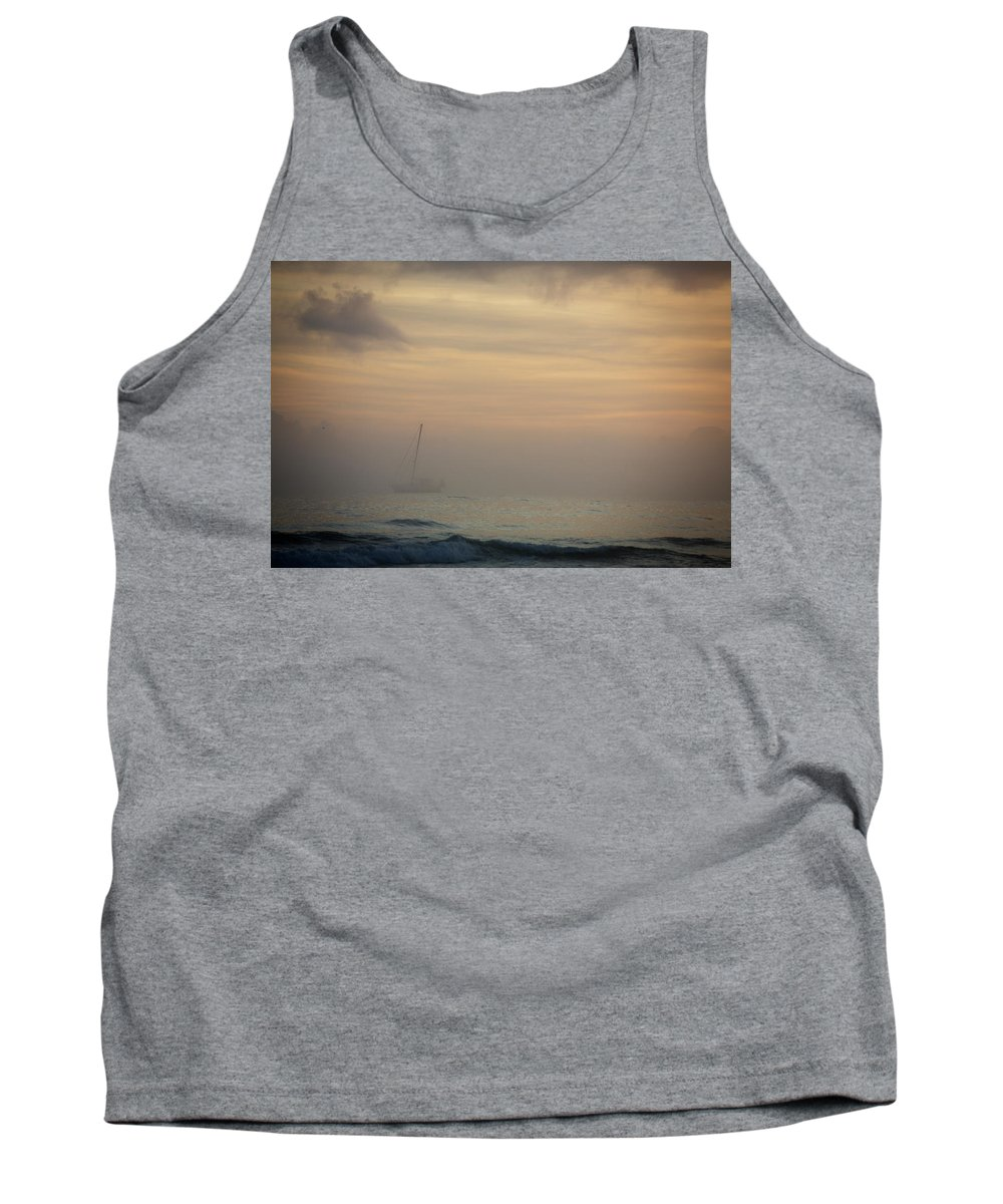 Nautical Vessel Tank Top featuring the photograph A Sailboat In The Morning Mist by Todd Korol
