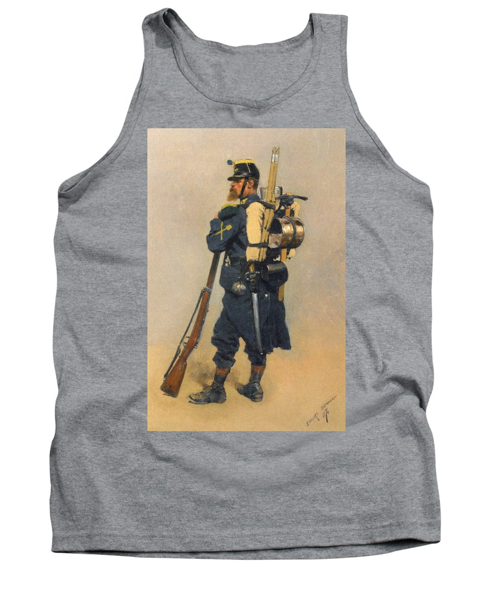 A Soldier Linfanterie Tank Top featuring the digital art A Soldier IInfanterie by Jean Baptiste Detaille