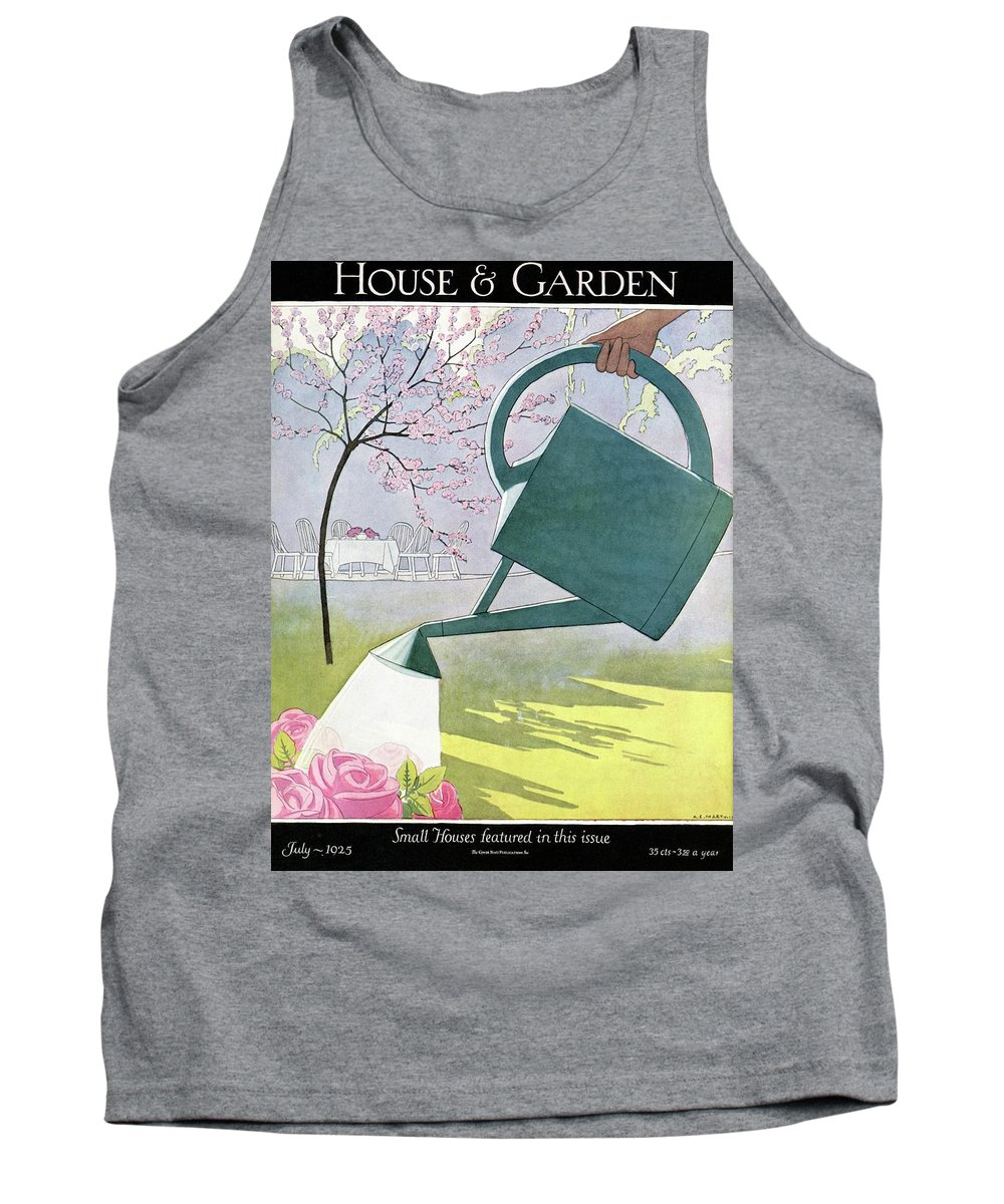 House And Garden Tank Top featuring the photograph A Watering Can Above Pink Roses by Andre E Marty