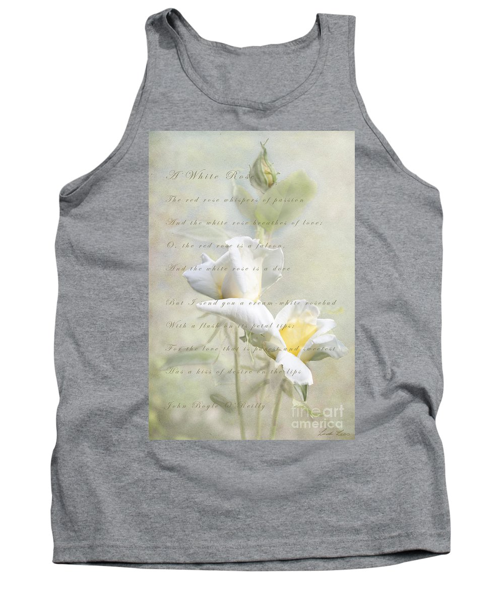 Rose Tank Top featuring the photograph A White Rose by Linda Lees