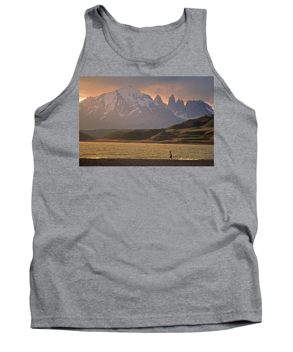 Adult Tank Top featuring the photograph A Woman Explorer, Runs The Shores by Cliff Leight