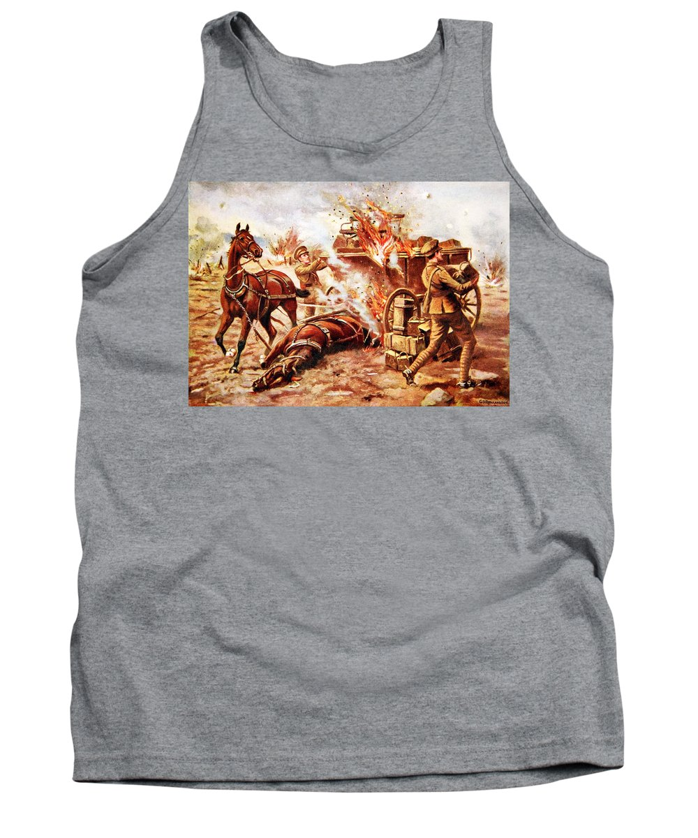 World War One Tank Top featuring the drawing Acting-bombardier H.a. Creasey by George Derville Rowlandson
