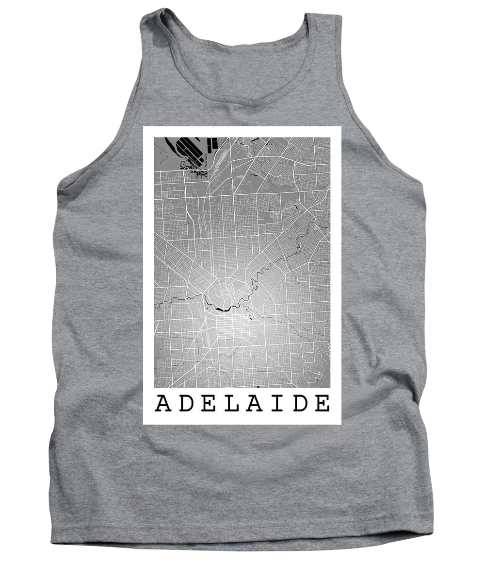 Road Map Tank Top featuring the digital art Adelaide Street Map - Adelaide Australia Road Map Art On Colored by Jurq Studio