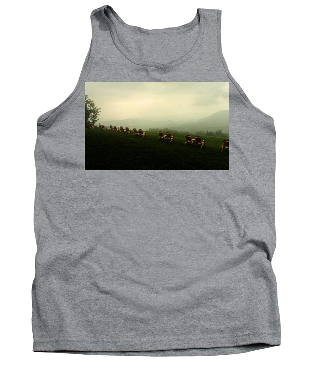Mountains Tank Top featuring the photograph Adirondack Chairs by Holly Dwyer