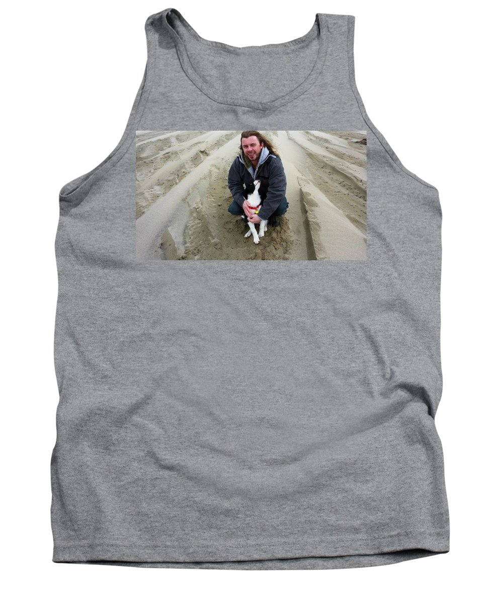 Dog And Master On The Beach Tank Top featuring the photograph Adoring Look by Susan Garren