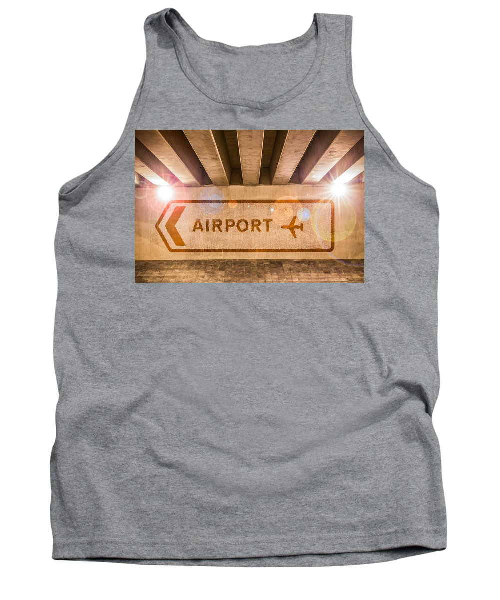 Arrow Tank Top featuring the photograph Airport Directions by Semmick Photo