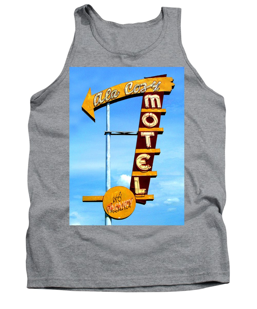 Mid Century Tank Top featuring the photograph Ala Cozy Motel by Larry Hunter