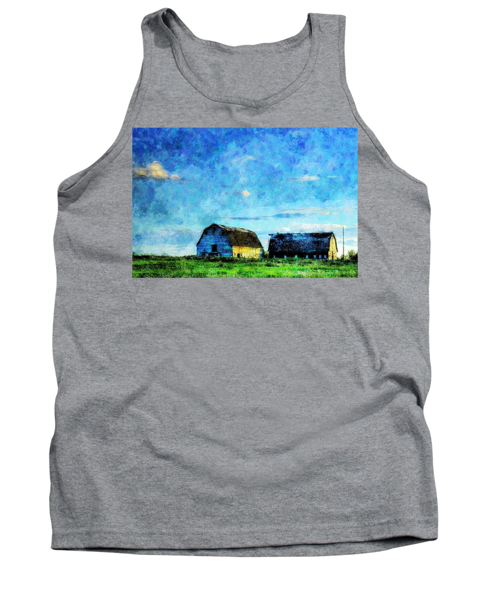 Alberta Tank Top featuring the painting Alberta Barn at Sunset by Sandy MacGowan