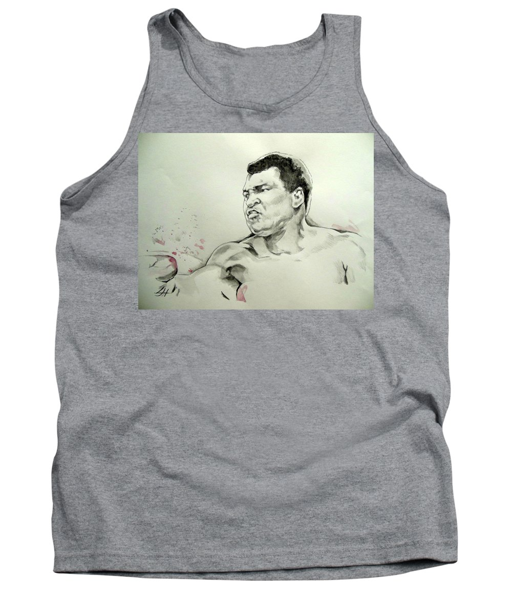 Muhammad Ali Tank Top featuring the drawing Ali by Lucia Hoogervorst