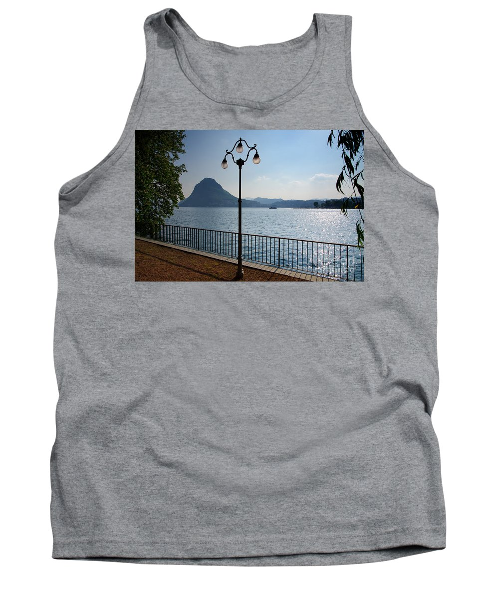 Lake Tank Top featuring the photograph Alpine Lake With Street Lamp by Mats Silvan