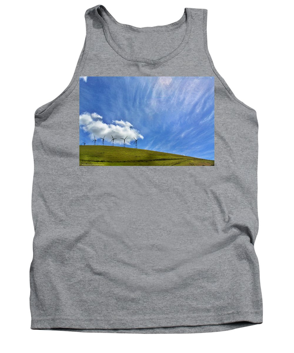 Landscape Tank Top featuring the photograph Altamont Windmills by Mark Robert Bein
